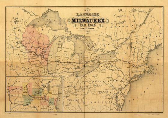 Map of the La Crosse and Milwaukee Rail Road and Connections 1855. Print/Poster (4845)